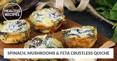Healthy Recipes - Spinach, Mushrooms & Feta Crustless Quiche