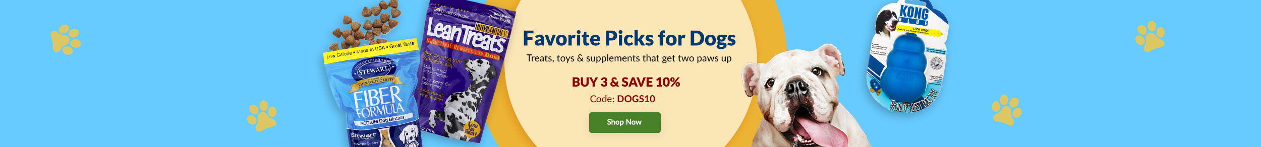 Favorite Picks For Dogs - Treats, toys & supplements to keep them happy. Buy 3 & Save 10%, CODE DOGS10