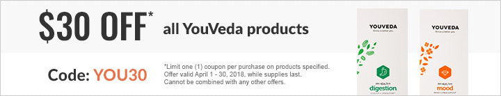 $30 OFF ALL YOUVEDA SUPPLEMENTS