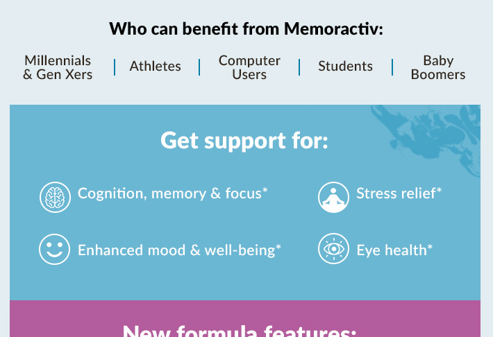 Supports for Cognition and memory*, Enhanced mood and well-being*, Mental Focus*, Stress relief*, Eye health*