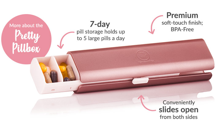 7-day pill storage holds up to 5 large pills a day, BPA-Free, slides open