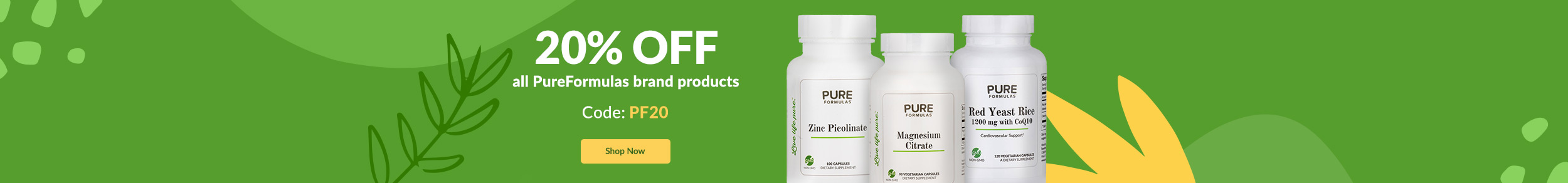 20% OFF all PureFormulas brand products. Code: PF20. SHOP NOW!