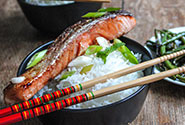 Honey Ginger Sesame Salmon with Coconut Rice