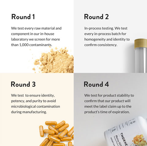 Round 1: Every raw material. Round 2: In-process testing. Round 3: Identity, potency and purity. Round 4: product stability.
