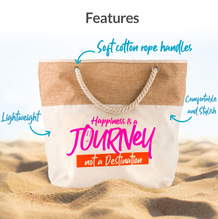 Summer Bag Features: Soft cotton rope handles, light weight, comfort in style